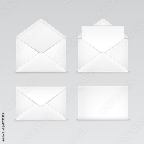 Set of White Blank Envelopes Isolated - 71793989