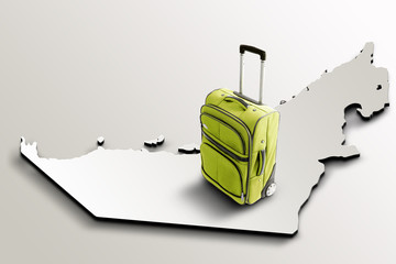 Travel to United Arab Emirates. Green suitcase on 3d map