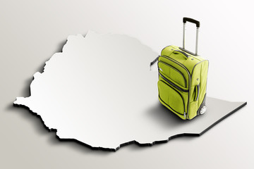 Travel to Ethiopia. Green suitcase on 3d map of the country