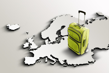 Travel to Europe. Green suitcase on 3d map