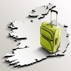 Travel to Ireland. Green suitcase on 3d map of the country