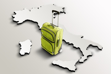 Travel to Italy. Green suitcase on 3d map of the country