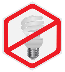 No fluorescent light bulb allowed sign, hexagon