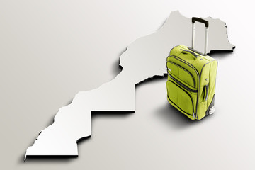 Travel to Morocco. Green suitcase on 3d map of the country