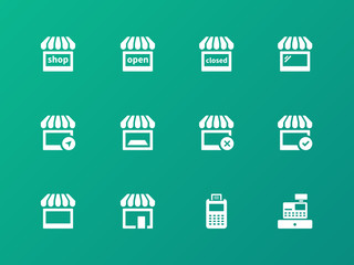 Shop icons on green background.