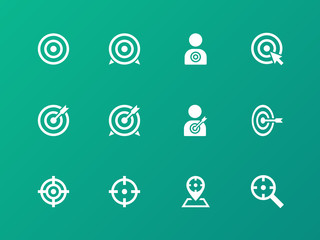 Target icons on green background.