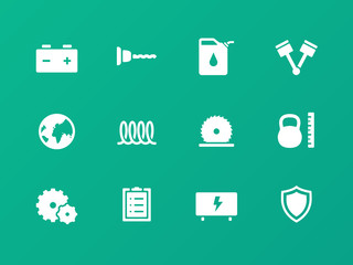 Tools icons on green background.