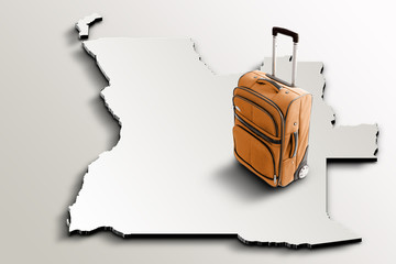 Travel to Angola. Orange suitcase on 3d map of the country