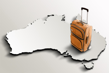 Travel to Australia. Orange suitcase on 3d map