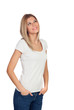 canvas print picture - Blonde casual girl thinking