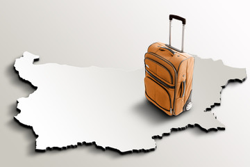Travel to Bulgaria. Orange suitcase on 3d map of the country