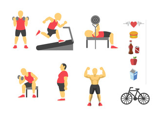 Vector sport and fitness infographics. Color flat icon set