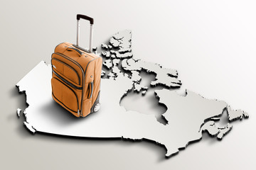 Travel to Canada. Orange suitcase on 3d map of the country