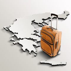 Travel to Greece. Orange suitcase on 3d map of the country