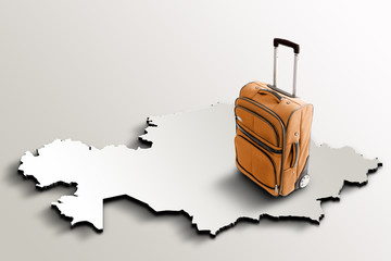 Travel to Kazakhstan. Orange suitcase on 3d map of the country