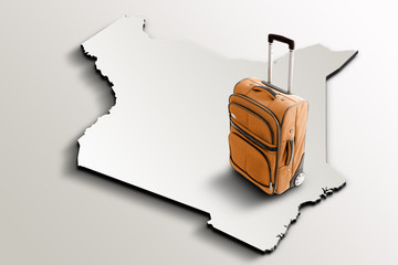 Travel to Kenya. Orange suitcase on 3d map of the country