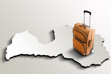 Travel to Latvia. Orange suitcase on 3d map of the country