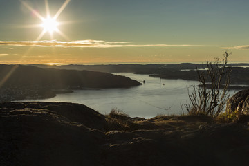 Sunset over the mountains in Bergen, Norway