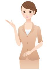 案内する女性 表情 スーツ