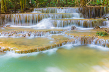 Waterfall and blue stream in deep forest Thailand