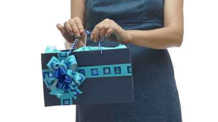 Woman Torso Holding Blue Gift Bag