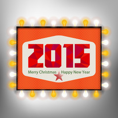 Happy new year background with advertising board for 2015
