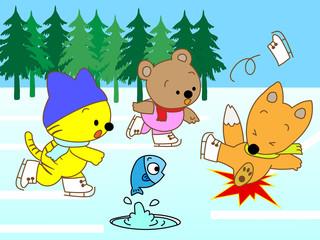 動物たちのアイススキー