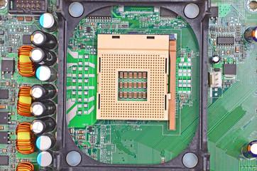 Printed computer motherboard, CPU socket, close up