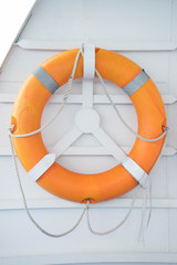 Lifebuoy on boat