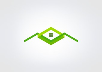 logo Business Kube Home House green Triangle