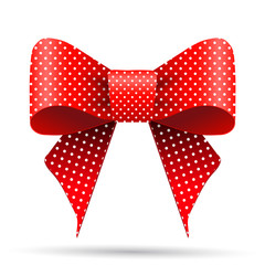 Red and white polka dot bow