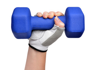 Hand holding blue fitness dumbbell  on white background