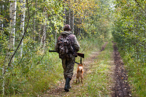 hunter with dog walking on the forest road - 71799353