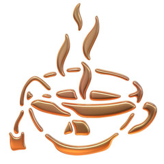 Golden illustration. Cup of tea