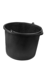 Black bucket on a white background