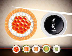 Sushi Fresh fish eggs and collection rolls