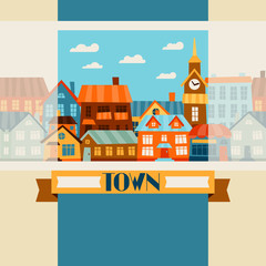 Town background design with cute colorful houses.