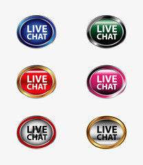 Live chat tag icon vector illustration set