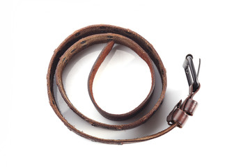 brown leather belt fashion on white background