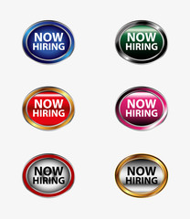 Now Hiring Sign, Now Hiring button