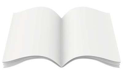 Blank open magazine template on white background with soft