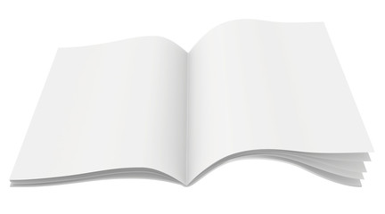 Blank open magazine with unfolded sheets of paper.