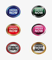 Order now button stickers and labels set