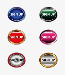 Set of sign up buttonicon