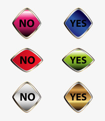Set of Yes - No buttons label
