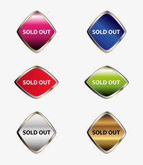 Sold out sign icon set