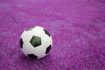 soccer ball on pink grass