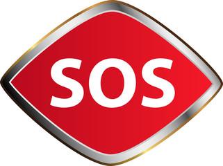 Sos button. Vector sticker