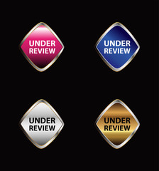 Under review icon tag set vector
