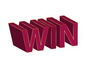 Vector win text design 3D
